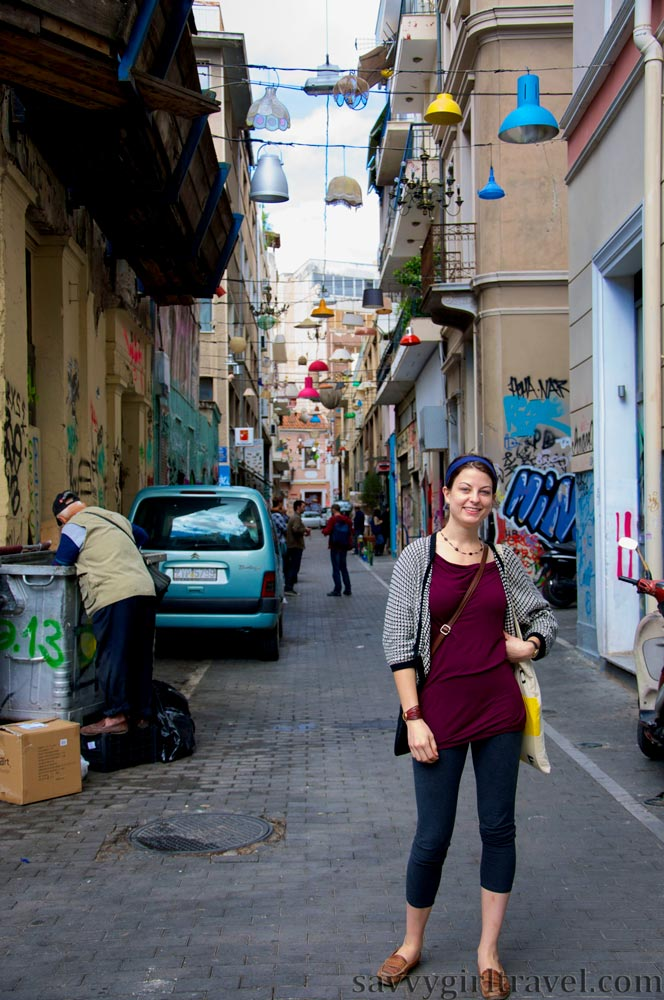 lamps street art in Athens, Greece Hayley Swinson Travel Writer Workshops